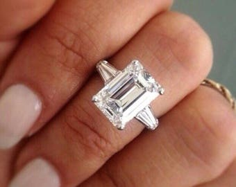 Emerald cut ring Etsy