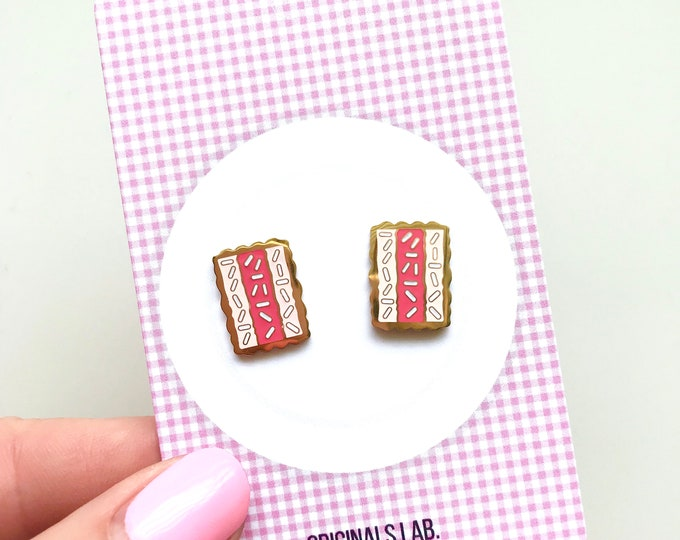 Iconic Australian Food Enamel Earrings - Iced Vovos - 18K Gold Plated