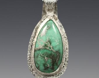 CLEARANCE. Variscite Pendant. Sterling Silver Necklace. Genuine Gemstone. Utah Variscite Cabochon. Teardrop Pendant. s13p006