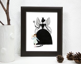 Art PRINT -Illustration, Watercolor Painting,Girl Plays Dress up, Fairy Queen Sihouette, Shadow 8x10