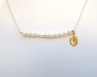 Tiny Freshwater Pearl Bar Necklace with Leaf Stamped Initial.Gold Bar Necklace.Pearl Necklace. Pearl. Leaf Necklace. Layer Necklace.Bride