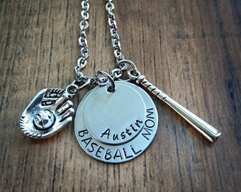 Hand Stamped Personalized Baseball Mom Necklace  - Baseball Necklace -  Baseball Mom Necklace - Baseball Mom Gift -