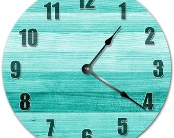 """10.5"""" BLUE WOOD Clock - Living Room Clock - Large 10.5"""" Wall Clock - Home Décor Clock - 4199"""