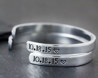 Hand Stamped Cuff Bracelet - Personalized Date Jewelry - Anniversary Gift for Girlfriend - Gifts for New Mothers - Remembrance Gifts