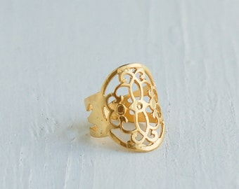 Gold Ring Gold Filigree Ring 24K Gold Lace Ring Bohemian Jewelry Gift for Her Gift for Him Boho  Boyfriend Ring Romantic Girlfriend Ring