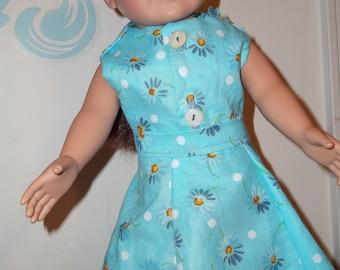 "18"" doll Blu Daisy dress 381E"