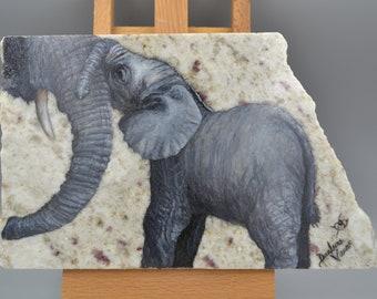 Baby Elephant (Original Oil Painting on Granite)