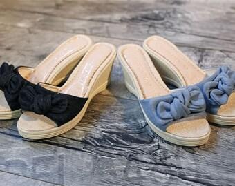 Women bowtie demin thin summer low heel shoes