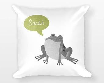 Custom Name Pillow, Frog Pillow, Personalized Pillow, Birthday Gift for Her, Frog Kids Room Decor, Animal Throw Pillow, Decorative Pillow