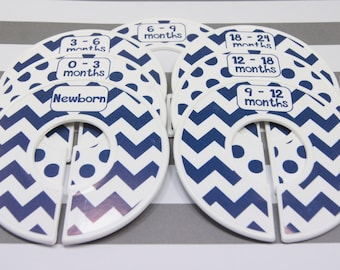 Custom Baby Closet Dividers Navy White Chevron Dots Clothes Organizers Baby Shower Gift Finished Closet Dividers Blue Nursery CD189F