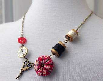 Sewing Necklace with Pincushion and Spools - Cherry blossom