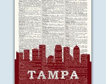 Tampa Skyline, Tampa Poster, Tampa Decor, Tampa Print, Tampa Wall Art, Tampa Gift, Tampa Skyline Art, Tampa Florida, Tampa Wall Decor,