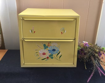 Ransburg Metal Bread Box, 2 door, vintage pie safe, vintage yellow toleware, handpainted, mid century breadbox