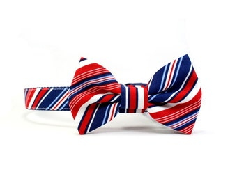 Dog Bow Tie Collar, 4th of July, Patriotic Red White and Blue, Striped Dog Bowtie  - Brady