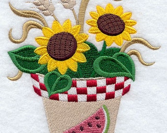 Blooming Sunflower Pot Embroidered Flour Sack Hand/Dish Towel