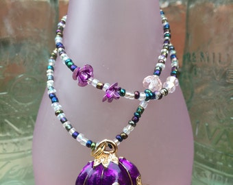 Cinderella necklace. Cinderella charm necklace. Cinderella carriage. Princess costume. Cinderella costume jewelry. Beaded jewelry.