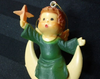 Angel in Green Dress Sitting on the Moon vintage Christmas Tree Ornament