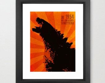 Godzilla poster- In 1954, we awakened something - Kaiju Digital Art Poster Minimalist Print