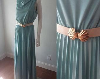 Vintage 1970s Grecian Goddess Seafoam Pleated Maxi Mermaid Dress