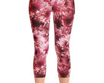 Floral Capris Leggings Yoga Pants, Printed Yoga Tights, Spring Flower Pattern