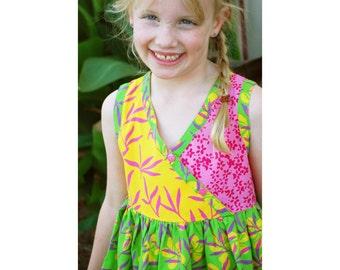 Girls Batik Dress, Lime Floral Dress, Big Girls Dress, Batik Cotton Dress, Boho Girls Gift Dress