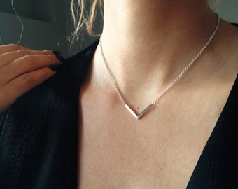 Silver simple necklace,dainty necklace,minimalist necklace,Sterling silver necklace,geometric necklace,layered necklace,gift for her