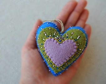 Handmade ornament.Unique handmade decor.Felt heart double-sited.MothersDay gift.Birthday gift.Cute blue felt heart