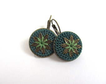Green teal earrings. Silk crochet earrings. Round earrings. Flower earrings. Antique brass leverback earrings. Cottage chic rustic earrings.