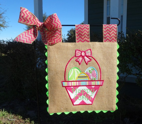 Burlap Garden Flag Easter Basket Embroidery Applique