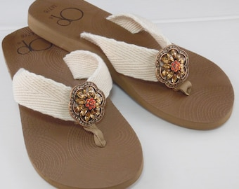 Brown Rhinestone Flip Flops with Repurposed Vintage Style Amber and Orange Rhinestone Brooch Accented with Coppertones #509
