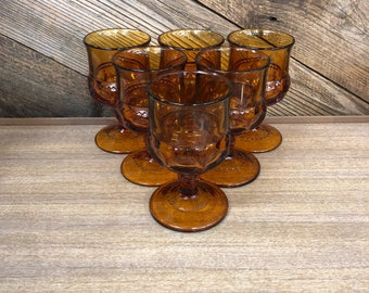 Amber Wine Goblets, Set of 6