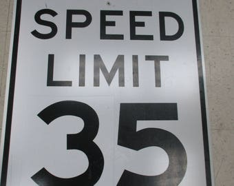 Vintage Speed Limit 35 Road Street Highway Sign