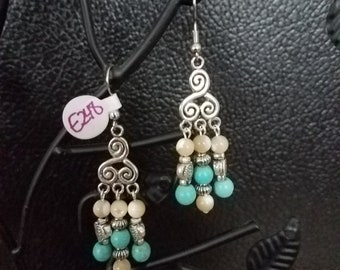 Turtles and Turquoise Swirl Earrings