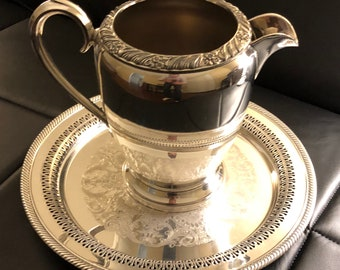 Silver Pitcher w/ serving drip plate