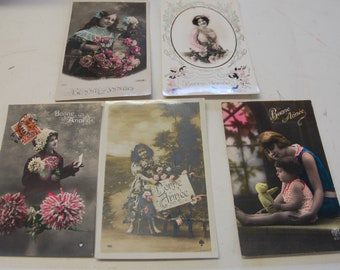 Set of 5 vintage postcards