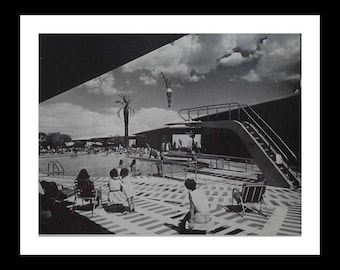 Diving Machismo 50s Las Vegas Outdoor Pool Man High Up Eyes On Him. Classic Composition Holiday Magazine BW Picture.  13x10 Ready Frame