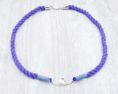 Purple Rope Necklace with Sterling Silver Wave Festoon Pendant