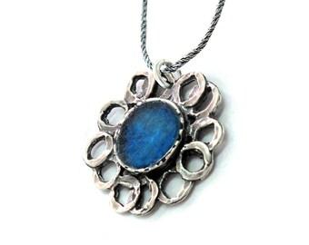 Roman Glass Flower Pendant, 925 Silver Pendant, Blue Roman Glass Flower Pendant, Israel Jewelry, Artisan Pendant, Roman Glass Jewelry Gift