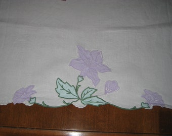Table runner, dresser scarf, linen, lavender flowers