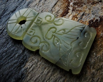 Whale Tail Carved Green Serpentine Pendant