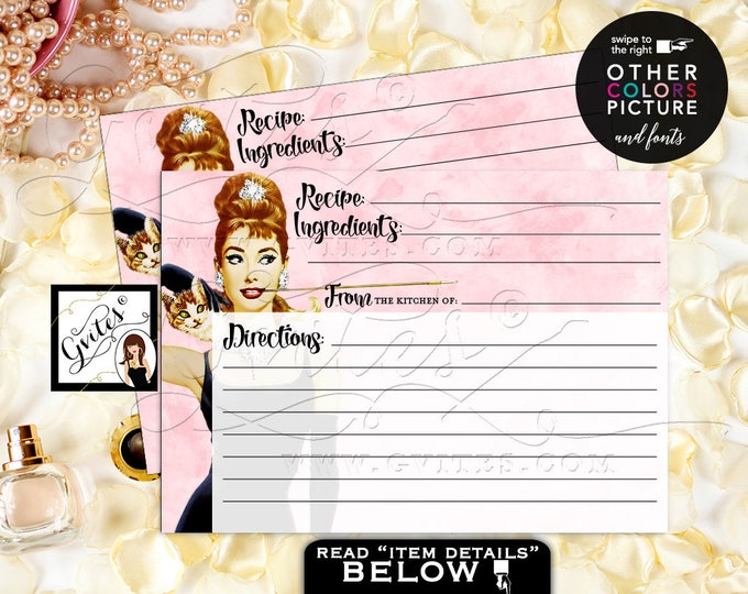 Audrey Hepburn Recipe Card Bridal Shower Breakfast Party Customizable Pic/colors/fonts. PRINTABLE, Digital File 7x5 {Watercolor Blush Pink}