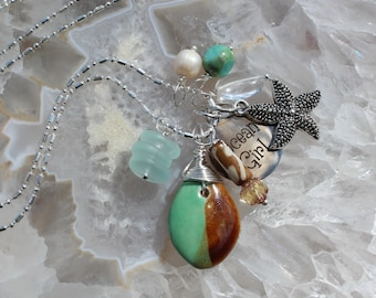 Beach Charm Necklace Ocean Girl seaglass stack turquoise pearl Quartz starfish Beach Jewelry Gifts by Inarajewels