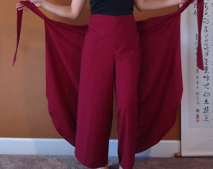 "Asian butterfly  flare wrap around pants for waist 36"" and under  custom order listing"