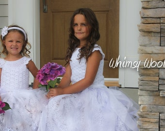 Crochet Dress Pattern: Flower Girl/Wedding, First Communion, Crochet Tutu, 'Mary's Dress'
