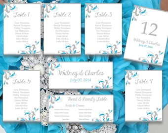 """Wedding Seating Chart Template   """"Florence"""" Malibu Blue Silver Gray Turquoise Word Template   Wedding Table Number Card   Wedding Download"""