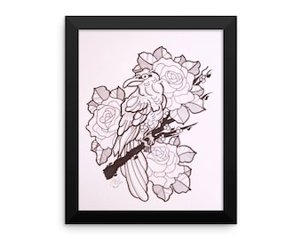 Framed print, Crow and Roses