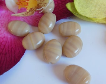set of 8 beads oval ceramic