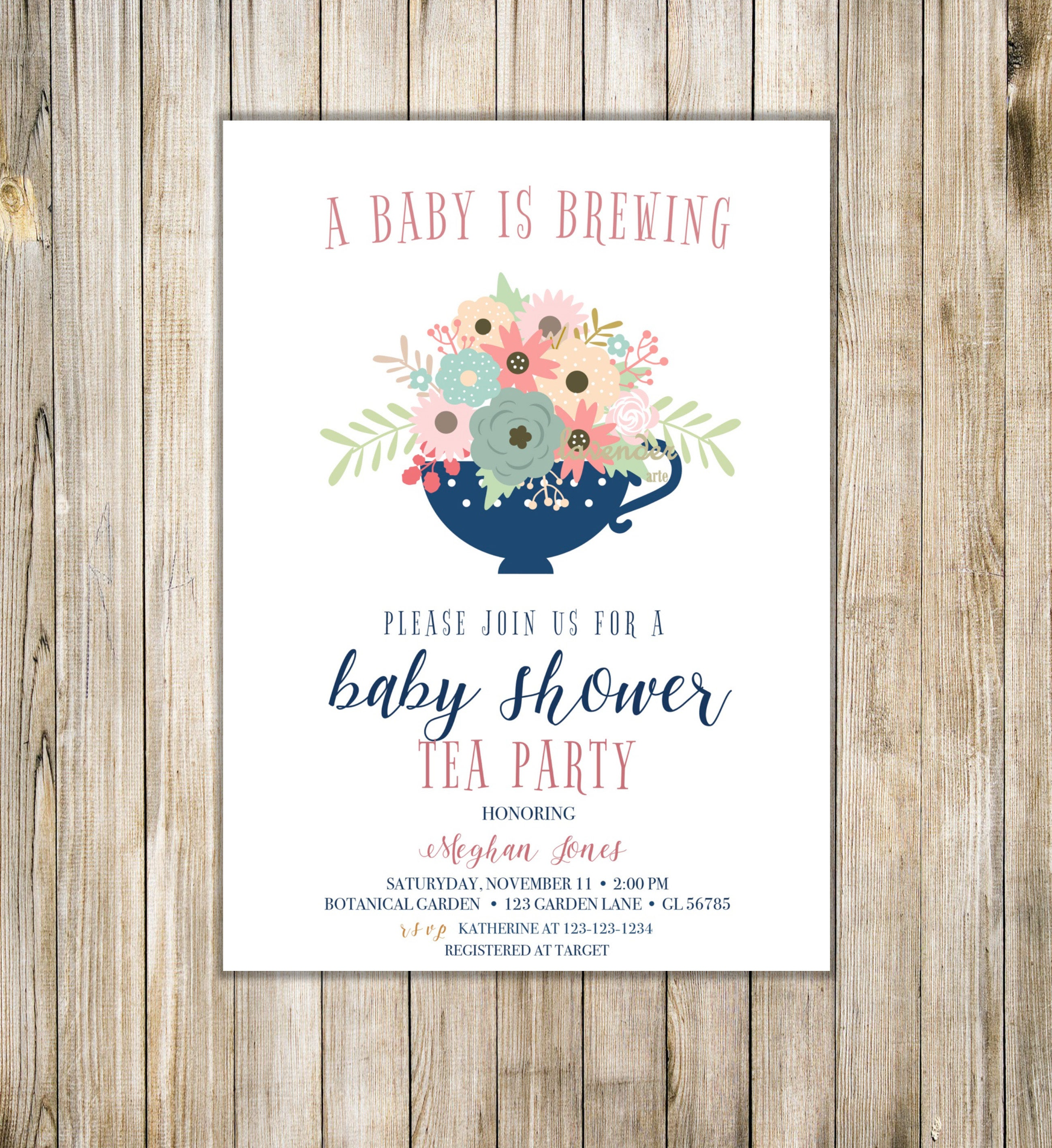 A BABY IS BREWING Party Invitation Floral Baby Shower Tea