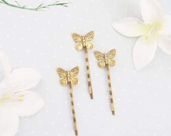 Choose silver or gold butterfly hair pins. Butterfly bobby pins. Dainty Butterfly hair clip. Elegant butterfly hair clip.