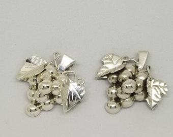 Sterling Silver Grape Bunch Brooch / Pendant
